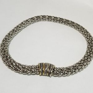 Woven Chocker in Silver and Goldtone